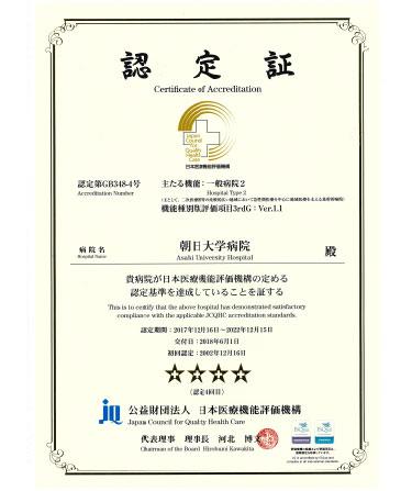 (公財)日本医療機能評価機構の認定書