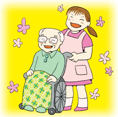 笑顔のボランティアスタッフと車椅子に座っているおじいさん